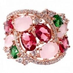 Sortija plata Ley 925m acabado rosa semipreciosas cuarzo rosa topacio rosa verde espiral circonitas