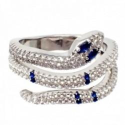 Sortija plata Ley 925m terminación rodio serpiente circonitas blancas azules