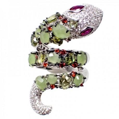 Sortija plata Ley 925m terminación rodio semipreciosas cuarzo verde olivina circonitas rojas blancas