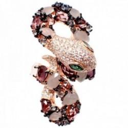 Sortija plata Ley 925m acabado rosa abierta serpiente semipreciosas cuarzo topacio circonitas