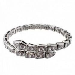 Brazalete plata Ley 925m terminación rodio abierta forma serpiente circonitas