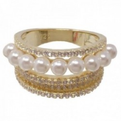 Sortija plata Ley 925m chapada oro bandas circonitas perlas sintéticas