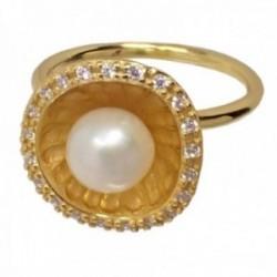 Sortija plata Ley 925m chapada oro flor interior matizado centro perla cultivada cerco circonitas