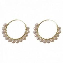 Pendientes plata Ley 925m chapados oro aros 35mm. lisos perlas cultivadas