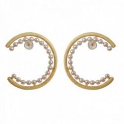 Pendientes plata Ley 925m chapados oro 34mm. matizados diamantados aros abiertos perlas cultivadas
