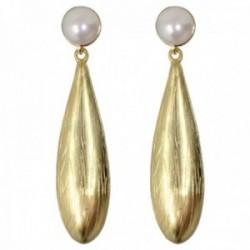 Pendientes plata Ley 925m chapados oro 40mm. lágrima matizados detalles tallados perla cultivada
