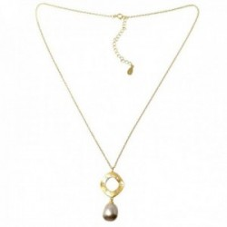 Gargantilla plata Ley 925m chapada oro 40.5cm. colgante matizado detalle circonitas perla cultivada