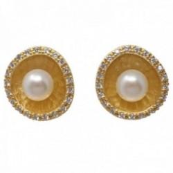 Pendientes plata Ley 925m chapados oro 15mm. flor interior matizado perla cultivada cerco circonitas