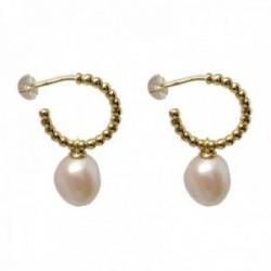Pendientes plata Ley 925m chapados oro aros 12mm. bolitas perla cultivada colgando cierre presión