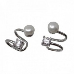 Pendientes trepador plata Ley 925m rodiados falso piercing dos bandas perlas cultivadas circonitas