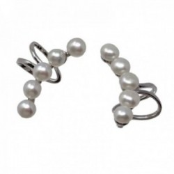 Pendientes trepador plata Ley 925m terminación rodio falso piercing dos bandas perlas cultivadas