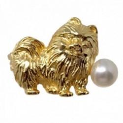 Broche alfiler plata Ley 925m chapado oro 16mm. perro pomerania detalles tallados perla cultivada