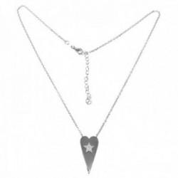 Gargantilla plata Ley 925m rodiada 40cm colgante corazón centro circonitas estrella cierre mosquetón