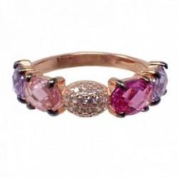Sortija plata Ley 925m acabado rosa piedras semipreciosas topacios rosas amatistas circonitas