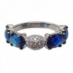 Sortija plata Ley 925m rodiada piedras semipreciosas topacios azules London blue circonitas