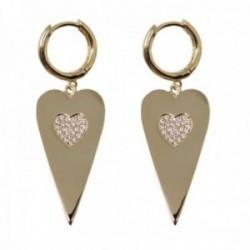 Pendientes plata Ley 925m chapados oro aros 12mm. lisos colgando corazón centro circonitas corazón