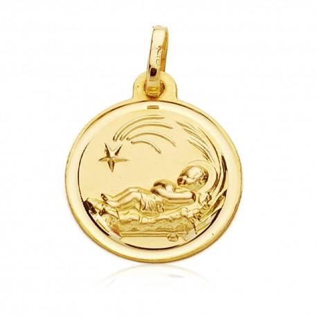 Medalla oro 18k Niño del Pesebre 16mm. filo liso [7581]