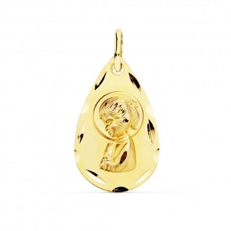 Medalla oro 18k Virgen Niña 19mm. lágrima [9072]