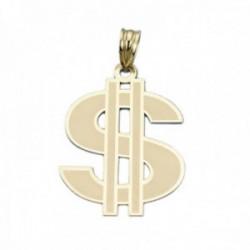 Colgante oro 18k símbolo dólar 30mm. láser unisex