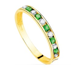 Sortija oro 18k carril piedras verdes circonitas