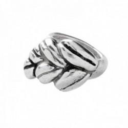 Sortija Unode50 Rocío ANI0523MTL0000M metal chapado plata talla 12 detalle centro hoja