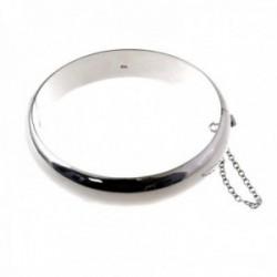 Pulsera brazalete plata Ley 925m media caña 60mm. lisa grueso 14mm. cadena de seguridad