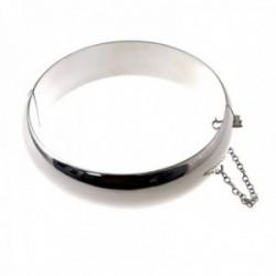Pulsera brazalete plata Ley 925m media caña 65mm. lisa grueso 16mm. cadena de seguridad