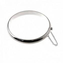 Pulsera brazalete plata Ley 925m media caña 60mm. lisa grueso 9mm. cadena de seguridad