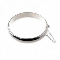 Pulsera brazalete plata Ley 925m media caña 65mm. lisa grueso 12mm. cadena de seguridad