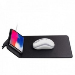 Alfombrilla de ratón BLUETECH con cargador inalámbrico de inducción Qi 5W imitación cuero