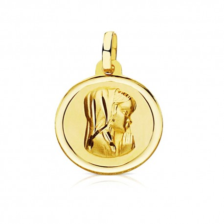 Medalla oro 18k Virgen Niña 16mm. bisel [7570]