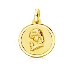 Medalla oro 18k Virgen Niña 16mm. perfil rezando bisel lisa