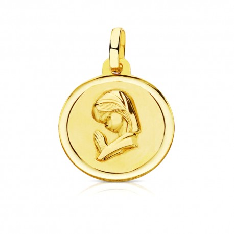 Medalla oro 18k Virgen Niña 16mm. bisel [7566]