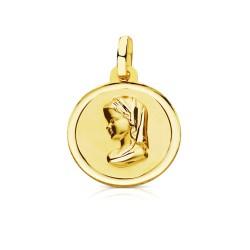 Medalla oro 18k Virgen Niña 16mm. perfil bisel liso