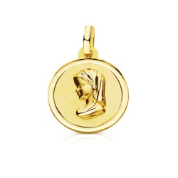 Medalla oro 18k Virgen Niña 16mm. bisel [7569]