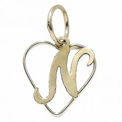 Colgante Gold Filled corazón letra N [2539]