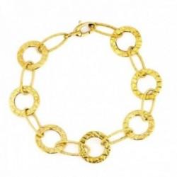 Pulsera oro 18k mujer eslabones alternos diamantados ovalados redondos tallados