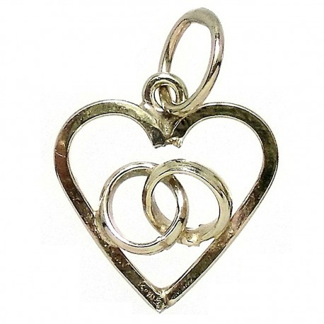 Colgante Gold Filled corazón dos alianzas [5462]