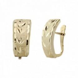Pendientes oro 18k mujer 15mm. lapidados detalles tallados cierre palillo catalán
