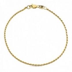 Pulsera oro 18k cordón salomónico 20cm. lisa cierre mosquetón