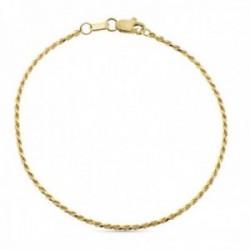 Pulsera oro 18k cordón salomónico 19cm. lisa cierre mosquetón