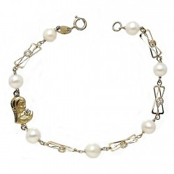 Pulsera oro 18k perla cultivada Virgen Niña circonita [5699]