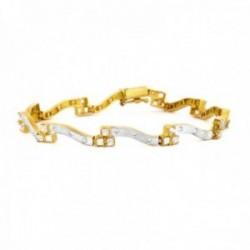 Pulsera oro bicolor 18k eslabones efecto ondas detalle circonitas cierre con seguridad