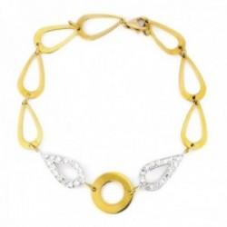 Pulsera oro bicolor 18k eslabones lágrimas centro laterales circonitas círculo liso cierre mosquetón