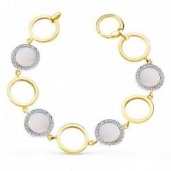 Pulsera oro bicolor 18k 20cm. círculos calados círculos nácar rosa circonitas cierre mosquetón