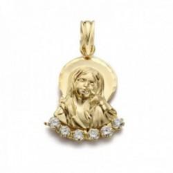 Colgante oro 18k silueta 22mm. Virgen Niña lisa detalle tallado aureola abajo circonitas