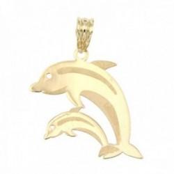 Colgante oro 18k delfines juntos 25mm. liso detalles