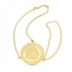 Pulsera oro 18k enganche dedo moneda greca matizada india cierre mosquetón
