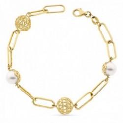 Pulsera oro 18k eslabones ovales rectangulares perlas sintéticas 8mm. bolas caladas cierre mosquetón