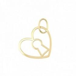Colgante oro 18k silueta 13mm. corazón dentro cerradura liso